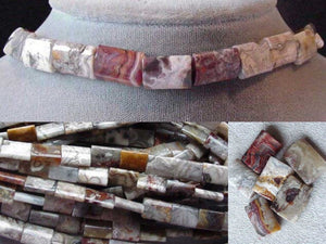 2 Crazy Lace Agate 14x10mm Rectangle Beads 4584 - PremiumBead