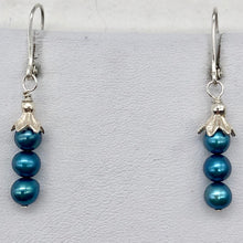 "Load image into Gallery viewer, Shining Teal Fresh Water Pearl Sterling Silver Lever Back Earrings | 1/2"" long 