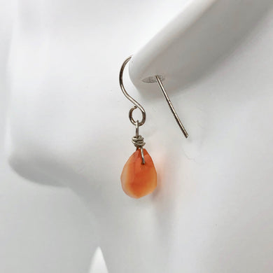 Twist Drop Faceted Carnelian Agate and Sterling Silver Earrings | 1 1/16