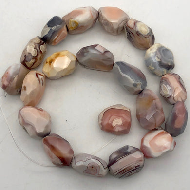 Botswana Agate Faceted Strand | 25x20x12 to 20x15x12mm | Pink | Nugget | 20 Bds| - PremiumBead