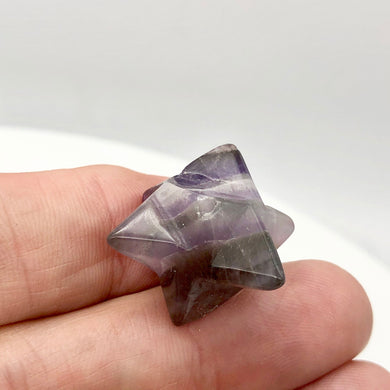 Kabbalah Carved Amethyst Merkabah Star Figurine | 25x15x15mm | Purple - PremiumBead