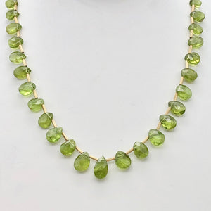 Natural Green Peridot Briolette and 14k GF 17 inch Necklace 203347 - PremiumBead