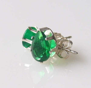 May 7x5mm Created Emerald & Silver Earrings 10149E - PremiumBead