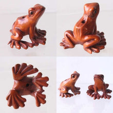 Load image into Gallery viewer, Ribbit Carved Boxwood Signed Tree Frog Ojime/Netsuke Bead | 18x26x21mm | Brown - PremiumBead