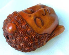 Load image into Gallery viewer, serenity-carved-buddha-boxwood-ojime-netsuke-bead-45x34x21-5mm-brown-12396