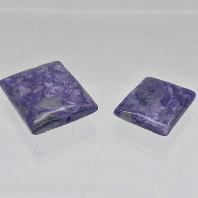 80cts of Rare Rectangular Pillow Charoite Beads | 2 Beads | 27x22x10mm | 10871B - PremiumBead