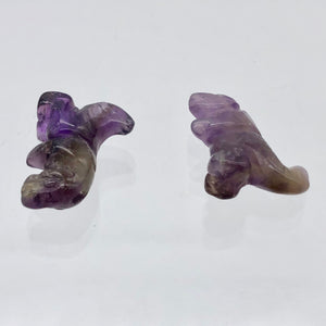 T-Rex Dinosaur 2 Amethyst Tyrannosaurus Rex Beads | 21x18.5x8mm | Purple w/Brown - PremiumBead Alternate Image 11