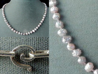 Natural Peachy/Pink Druzy Freshwater Pearl Silver 17 inch Strand Necklace 200044 - PremiumBead