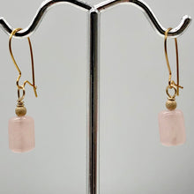 Load image into Gallery viewer, Madagascar Rose Quartz Tube Bead 14k Gold Filled Semi Precious Stone Earrings - PremiumBead Alternate Image 5