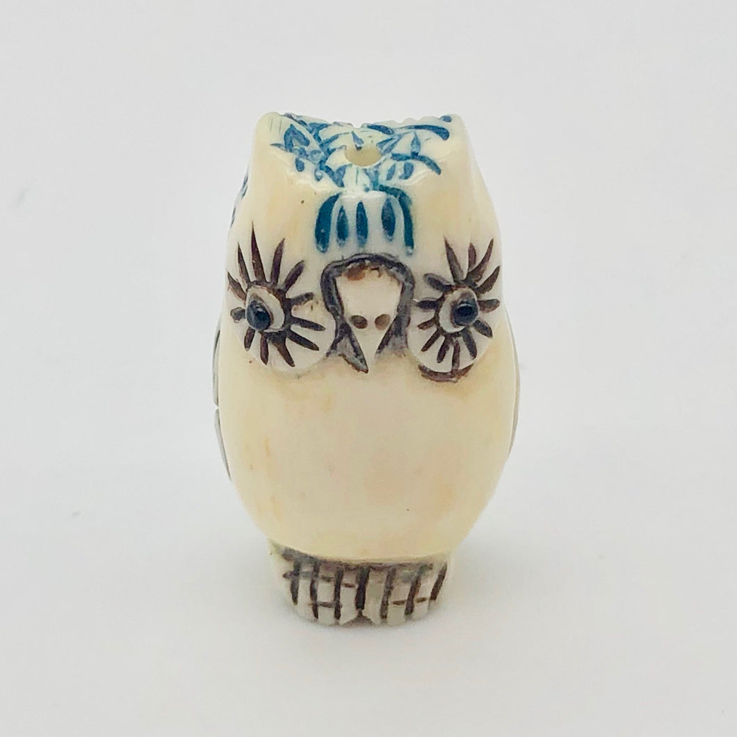Wise Owl Carved Bone 25x15x10mm Bead 10746 | 25x15x10mm | Cream, Blue and Black - PremiumBead