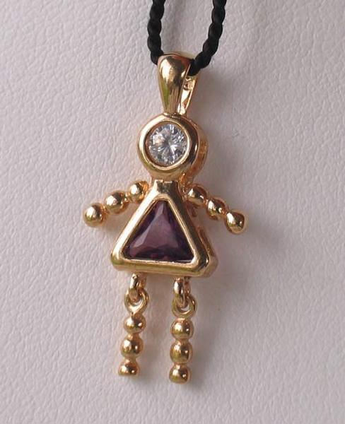February! Crystal Kid Girl & 14K Vermeil Pendant 9926Bg - PremiumBead