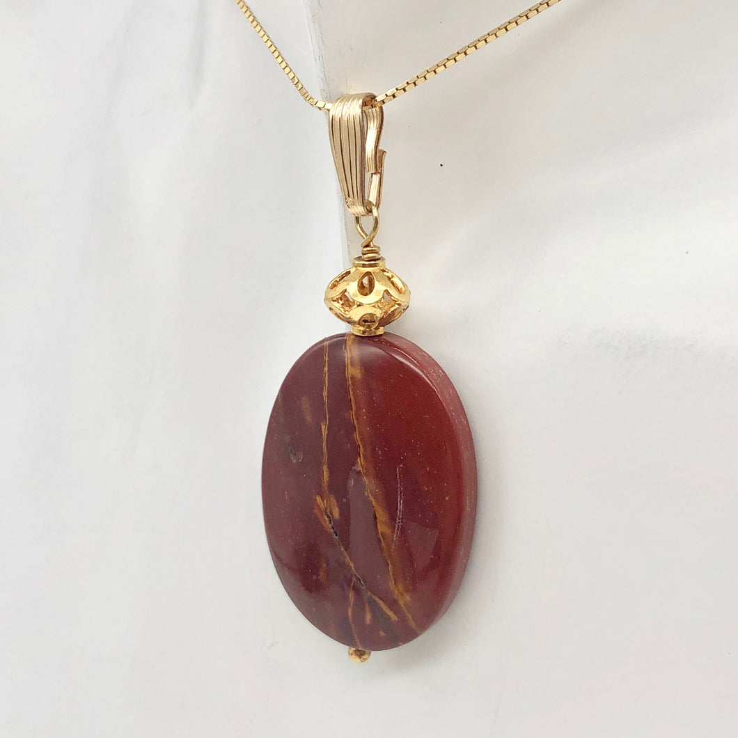 Fabulous Mookaite 30x20mm Oval 14k Gold Filled Pendant, 2 1/8 inches 506765D - PremiumBead Primary Image 1