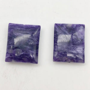 75cts of Rare Rectangular Pillow Charoite Beads | 2 Beads | 24x20x9mm | 10871C - PremiumBead Alternate Image 10