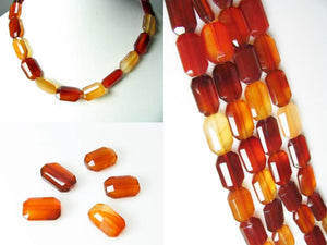Five Beads of Faceted Carnelian Agate 12x18mm Rectangular Beads 10600P - PremiumBead Alternate Image 4