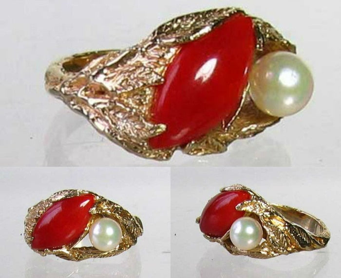 Natural Red Coral & Pearl Carved Solid 14Kt Yellow Gold Ring Size 5.75 9982D - PremiumBead Primary Image 1