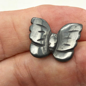 Iron Butterfly Carved Hematite Worry-Stone Figurine | 21x18x5mm | Silver Black - PremiumBead Alternate Image 3
