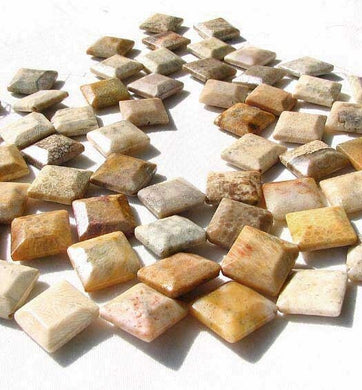 2 Designer Fossilized Coral Unique Square Beads 008933 - PremiumBead Primary Image 1