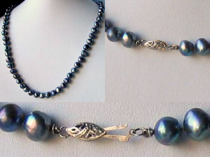 Blue Peacock Baroque Freshwater Pearl & Silver 22 inch Necklace 9814 - PremiumBead Primary Image 1