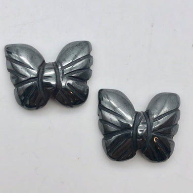 Iron Butterfly 2 Hand Carved Hematite Butterfly Beads | 21x18x5mm | Silver black - PremiumBead Primary Image 1