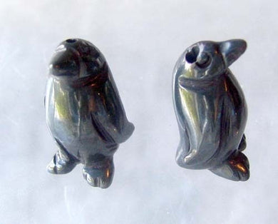 March of The Penguins 2 Carved Hematite Beads | 21x12x11mm | Silver black - PremiumBead Primary Image 1