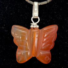 Load image into Gallery viewer, Carnelian Agate Butterfly Pendant Necklace | Semi Precious Stone| Silver Pendant - PremiumBead