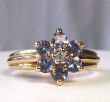 Load image into Gallery viewer, Tanzanite & Diamond Solid 10Kt Yellow Gold Flower Ring Size 7 9982F - PremiumBead Alternate Image 5