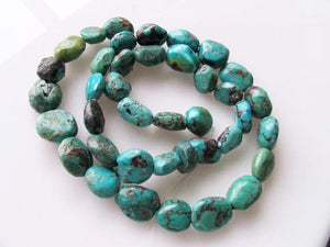 "160cts 16"" Natural USA Turquoise Pebble Beads Strand 106696H - PremiumBead"