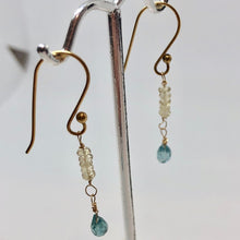 Load image into Gallery viewer, Blue Zircon and Aquamarine W/22K Vermeil Earrings 310708 - PremiumBead Primary Image 1