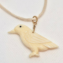 Load image into Gallery viewer, White Raven Carved Bone w / 14Kgf Pendant 510804G - PremiumBead