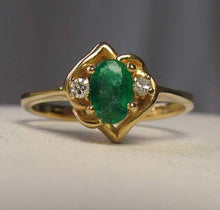 Load image into Gallery viewer, Oval Emerald & Diamonds Solid 14Kt Yellow Gold Solitaire Ring Size 5 9982Ar - PremiumBead