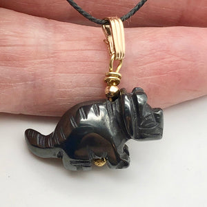 Hematite Triceratops Dinosaur with 14K Gold-Filled Pendant 509303HMG - PremiumBead Alternate Image 8