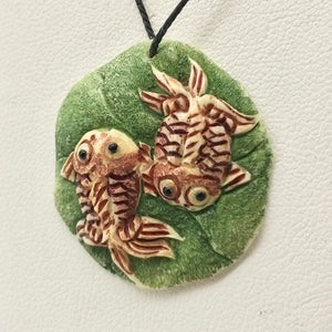 Koi Goldfish Waterbuffalo Carved Bone Bead, Red/Green, 29mm 10785 - PremiumBead