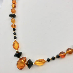 "Beautiful Sparkling Amber and Onyx Bead 30"" Necklace 210791 - PremiumBead"