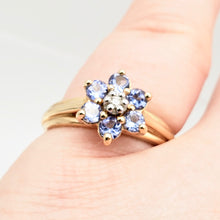 Load image into Gallery viewer, Tanzanite & Diamond Solid 10Kt Yellow Gold Flower Ring Size 7 9982F - PremiumBead Alternate Image 7