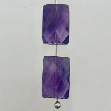 AAA Natural Amethyst Faceted Beads | 12x8x7mm | Purple | Rectangle | 2 Beads | - PremiumBead