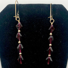 Load image into Gallery viewer, 14K Gold Filled Red Pyrope Garnet Earrings | 2 inches long | - PremiumBead Alternate Image 7