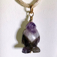 Load image into Gallery viewer, Amethyst Penguin Pendant Necklace | Semi Precious Stone Jewelry | 14k Pendant - PremiumBead