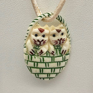 Twin Carved Kitty Cats in a Basket Waterbuffalo Bone Bead 10754 | 30x21x5mm | cream, black and green - PremiumBead