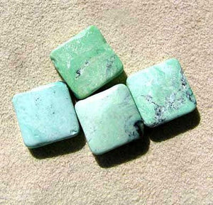 Minty Mojito Green Turquoise Square Coin Bead Strand 107412F - PremiumBead