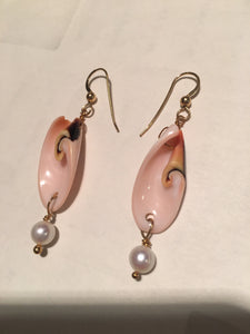 Divine Spiral Shell and FW Pearl 14Kgf Earrings 308932 - PremiumBead Alternate Image 2