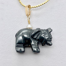 "Load image into Gallery viewer, Wild Hematite Elephant 14Kgf Pendant | 21x16x8mm | Black | 1 5/8"" long 