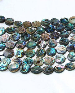Natural Abalone Coin Shaped 18x4mm Bead Strand 104589 - PremiumBead