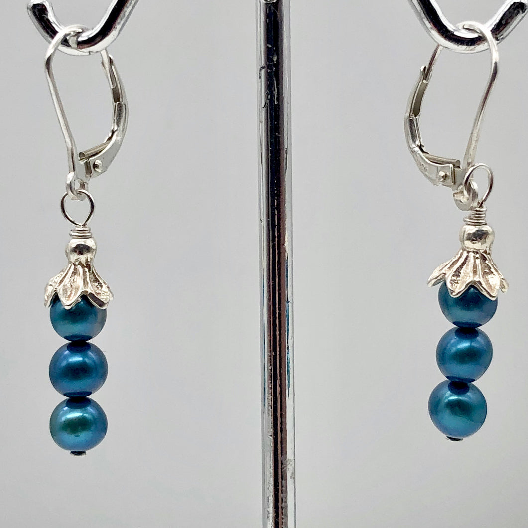 Shining Teal Fresh Water Pearl Sterling Silver Lever Back Earrings | 1/2