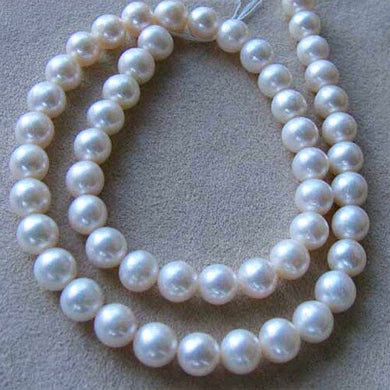 Natural Creamy Satin 8 to 9mm Pearl Strand 102639 - PremiumBead