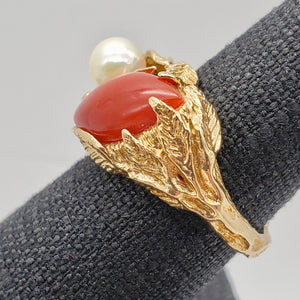 Natural Red Coral & Pearl Carved Solid 14Kt Yellow Gold Ring Size 5.75 9982D - PremiumBead Alternate Image 10