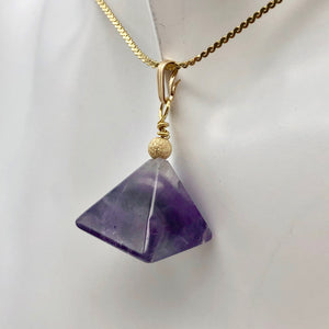 "Contemplation Amethyst Pyramid and 14k Gold Filled Pendant | 1 3/8"" Long - PremiumBead"