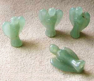 2 Loving Hand Carved Green Aventurine Guardian Angels 9284AV | 21x14x8mm | Green - PremiumBead