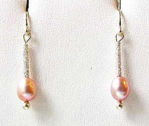 Stardust Pink Pearls with Solid Sterling Silver Earrings 6553 - PremiumBead