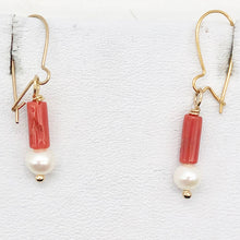 Load image into Gallery viewer, 14Kgf Red Coral and Fresh Water Pearl Earrings | 1 Inch Long | - PremiumBead