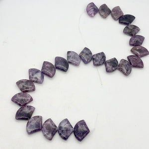 Natural Lepidolite Fan Bead Half-Strand | 25x18x6mm | Purple | Fan | 11 beads |